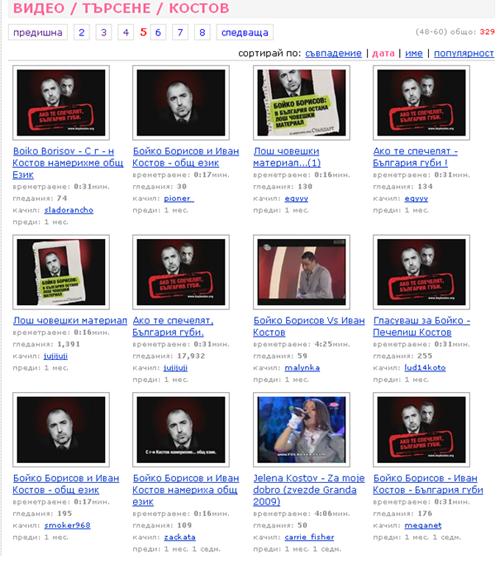 """Резултати при търсенето на """"Иван Костов"""" във Vbox7"""