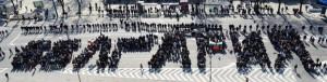 """Протестиращи във Варна изписаха """"България"""" с телата си по случай 3-ти март"""